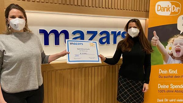 MAZARS SPENDET €2.000 AN DANK DIR!
