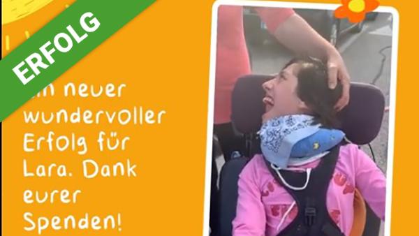 Dank Dir freut sich Lara über einen Rollstuhl-Lift